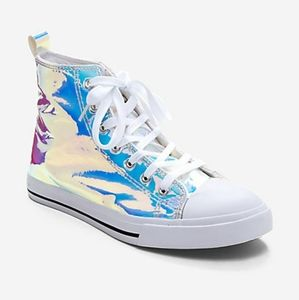 Womens Iridescent Holographic Hi-Top Sneakers
